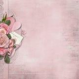 Rocznik miłości tło z różowymi różami i sercem royalty ilustracja