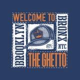 Rocznik miastowa typografia z baseball nakrętką Fotografia Stock