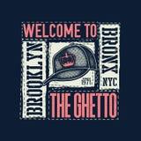 Rocznik miastowa typografia z baseball nakrętką Zdjęcie Royalty Free