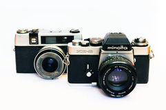 Rocznik Minolta XE-5 i Taron kamera Zdjęcie Royalty Free