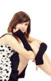 Rocznik mody portret piękna młoda dziewczyna obrazy stock