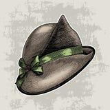 Rocznik mody ręki kapeluszowy rysunek odizolowywa na grunge tle ilustracji