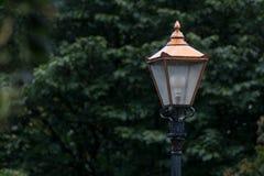 Rocznik mosiężna latarnia w Phoenix parku, Dublin, Irlandia na deszczowym dniu obrazy royalty free