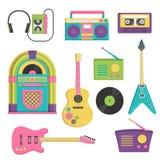 Rocznik muzyka i dźwięka set royalty ilustracja