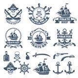 Rocznik nautyczny i pirat etykietki Monochromatyczni logowie morze i żeglowanie royalty ilustracja