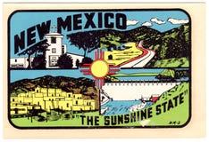 Rocznik Nowy - Mexico podróży majcher Zdjęcie Stock