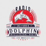 Rocznik odznaka z delfinem Ilustracja Wektor