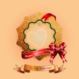 Rocznik Ornamentacyjna stellated różyczka z Szczęśliwym walentynka dnia tekstem Obrazy Royalty Free