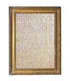 Rocznik ozłacał wokoło ramy z ornamentem odizolowywającym na bielu fotografia stock