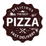 Rocznik pizzy loga wektorowy znaczek ilustracji