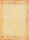 Rocznik plamiący papier z kwiecistą granicą Fotografia Stock