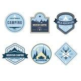 Rocznik Plenerowe Obozowe odznaki i logów emblematy Fotografia Royalty Free