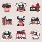 Rocznik Pożarniczej ochrony logowie Ustawiający Zdjęcia Stock