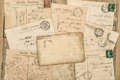 Rocznik pocztówek Stary ręcznie pisany list używał papierowego tło obrazy stock