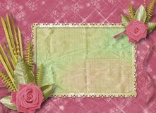 Rocznik pocztówka dla gratulacje z różami Fotografia Royalty Free