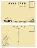 Rocznik pocztówki dla stanu Alaska Zdjęcia Stock