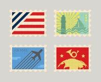 Rocznik poczta wektorowi znaczki Zdjęcia Royalty Free
