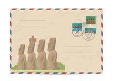 Rocznik pocztowa koperta z znaczkami royalty ilustracja