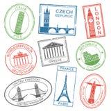 Rocznik podróż stempluje dla pocztówek z Europe krajów architektury przyciąganiami Poczta stemplowi majchery dla podróży royalty ilustracja