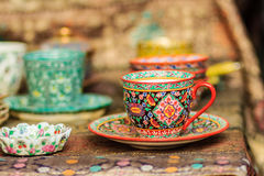 Rocznik porcelany Thai stylowa filiżanka handmade Piękny tr Obrazy Stock