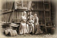 Rocznik projektujący rodzinny portret Zdjęcie Stock