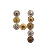Rocznik przekładni cogwheels steampunk stylu machinalna cyfra liczba cztery Ośniedziały żelazo brązu metalu tekstury kształt 4 ag Zdjęcie Royalty Free