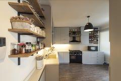 Rocznik przemysłowa kuchnia, Kuchenny projekt zdjęcia royalty free