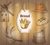 Rocznik przylepia etykietkę chleb Obraz Royalty Free