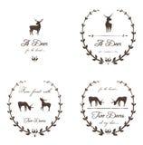 Rocznik Przylepia etykietkę kolekcję z Deers Fotografia Royalty Free