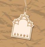 Rocznik pusta odznaka z Bożenarodzeniowymi elementami Obraz Royalty Free