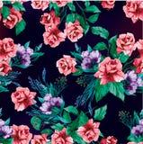Rocznik róż bezszwowy wzór Kwitnie Bezszwowego Deseniowego elementu wektoru tło royalty ilustracja