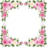 Rocznik róż rama. Zdjęcia Stock