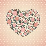 Rocznik róże w kształcie serce wektor Fotografia Stock