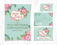 Rocznik róży brzmienia zaproszenia ślubni sety Zdjęcie Royalty Free