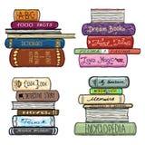 Rocznik ręka rysująca rezerwuje bibliotecznego wektoru set ilustracji