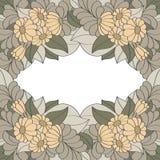 Rocznik rama dekorująca z ręka rysującymi kwiatami Zdjęcie Royalty Free