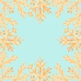 Rocznik rama złota sosna rozgałęzia się na kolorowym tle CH royalty ilustracja