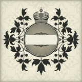 Rocznik rama z koroną Fotografia Royalty Free