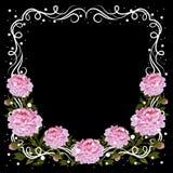 Rocznik rama z różowymi peoniami Obraz Stock