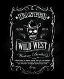 Rocznik ramy etykietki blackboard westernu ręka rysująca granica Obrazy Stock