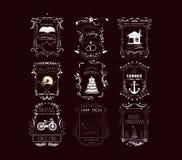 Rocznik ramy, ślimacznica elementy i Kwieciści ornamenty, Zdjęcie Royalty Free