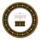 Rocznik ramy 038 Round Retro Jewellery Złota rama Fotografia Royalty Free