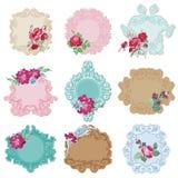 Rocznik ramy z kwiatami i etykietki Zdjęcia Royalty Free