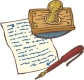 Rocznik Ręcznie pisany strona z Czerwonym atramentu piórem, suszką i Zdjęcie Royalty Free