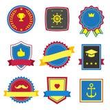 Rocznik, retro płaskie odznaki, przylepia etykietkę znaki Zdjęcia Stock