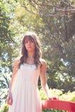 rocznik romantyczna stylowa kobieta Zdjęcie Royalty Free