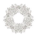 Rocznik round rama z kwiatami Obraz Royalty Free