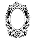 Rocznik round rama z wzrastał kwiatu wystroju wektor Antyk ornamentujący lustrzany akcesorium Intricated dekoracje royalty ilustracja