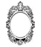 Rocznik round rama z wzrastał kwiatu wystroju wektor Antyk ornamentujący lustrzany akcesorium Intricated dekoracje ilustracji