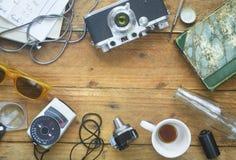 Rocznik rzeczy analog fotografia, bezpłatnej kopii przestrzeń zdjęcie stock